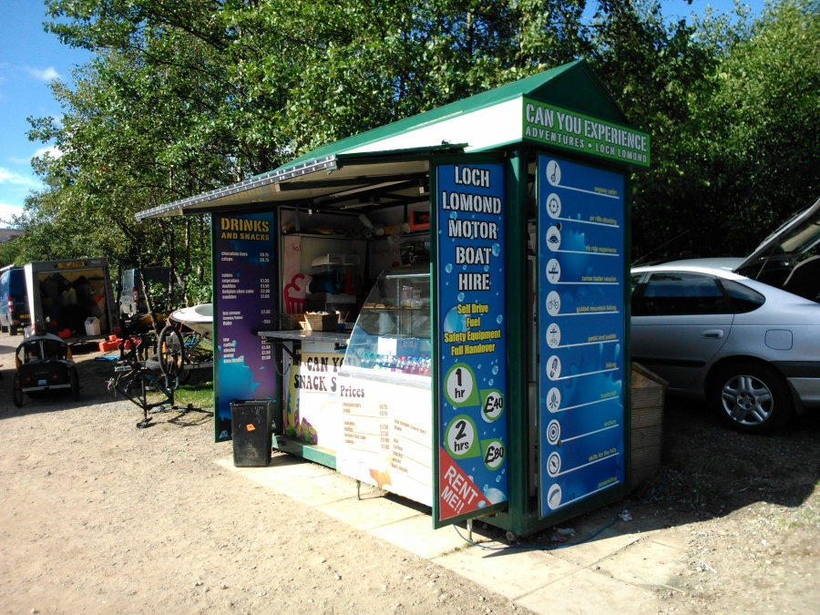 Beach Kiosk at Loch Lomond Shores - Signage for beach kiosk for Can You Experience - Lomond Bradning