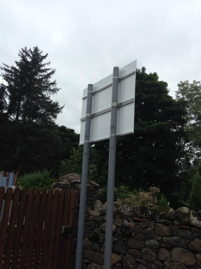 Dibond Sign onto Poles complete with signrail and clips reverse, Dibond Sign onto Poles complete with signrail and clips reverse for Edenmill Farm Shop - Lomond Branding
