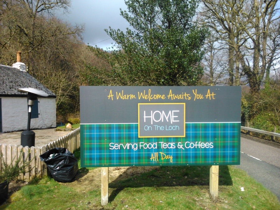Vinyl re-skin of existing exterior sign for Home on the Loch - Lomond Branding