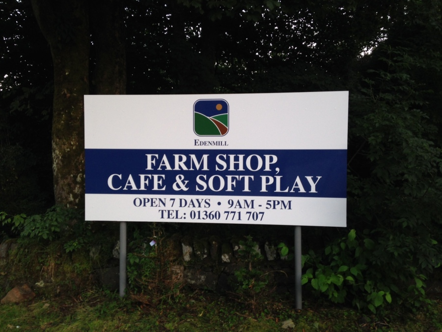 Edenmill sign onto poles, Vinyl re-skin for Edenmill Farm shop - Lomond Branding