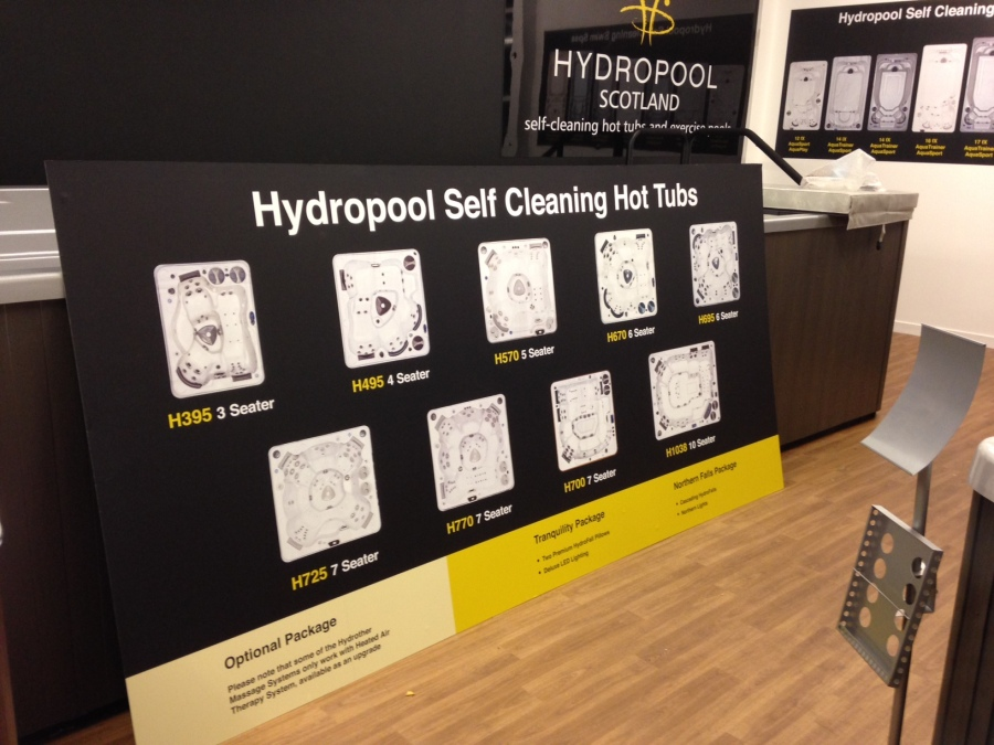 Hydropool showroom products display boards - Hot Tubs -Lomond Branding
