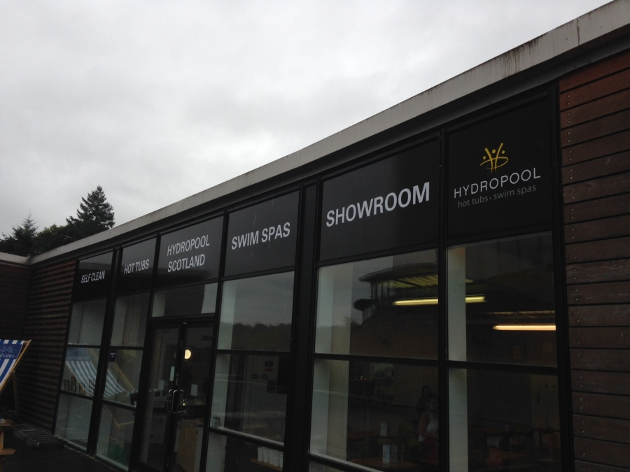 Window Graphics for Hyrdropool - showroom windows at Loch Lomond Shores - Lomond Branding