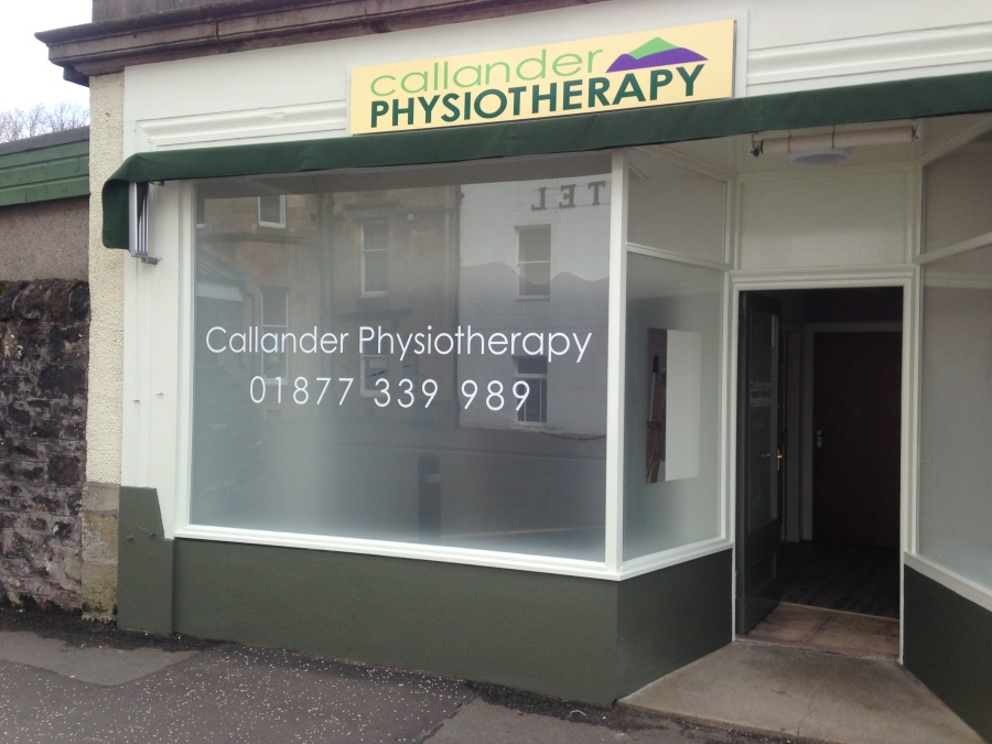 Window Graphics for Callander Physiotherapy - Lomond Branding