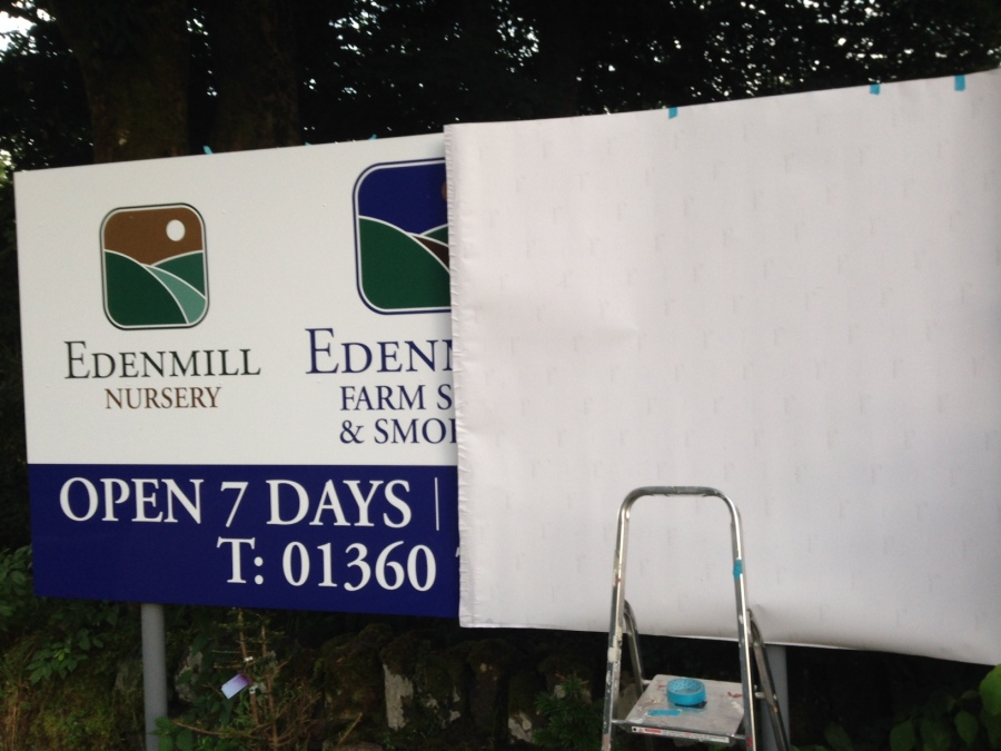 Vinyl re-skin in process for Edenmill Farm Shop