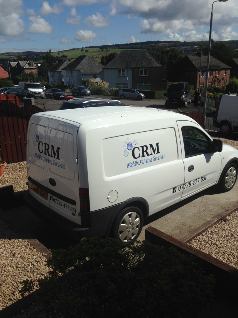 Van vehicle graphics - CRM Mobile valeting services - Lomond Branding