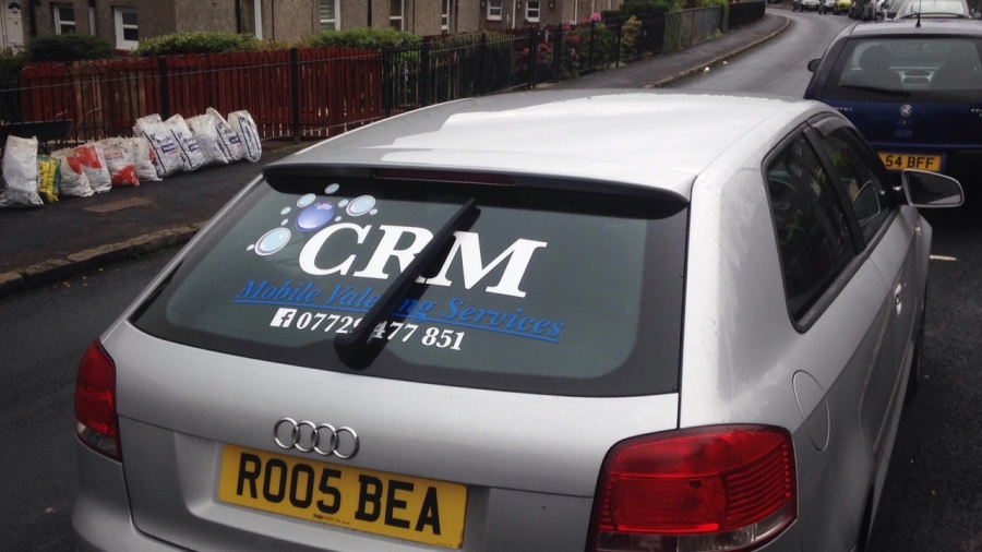 Car vehicle graphics - CRM Mobile valeting services - Lomond Branding