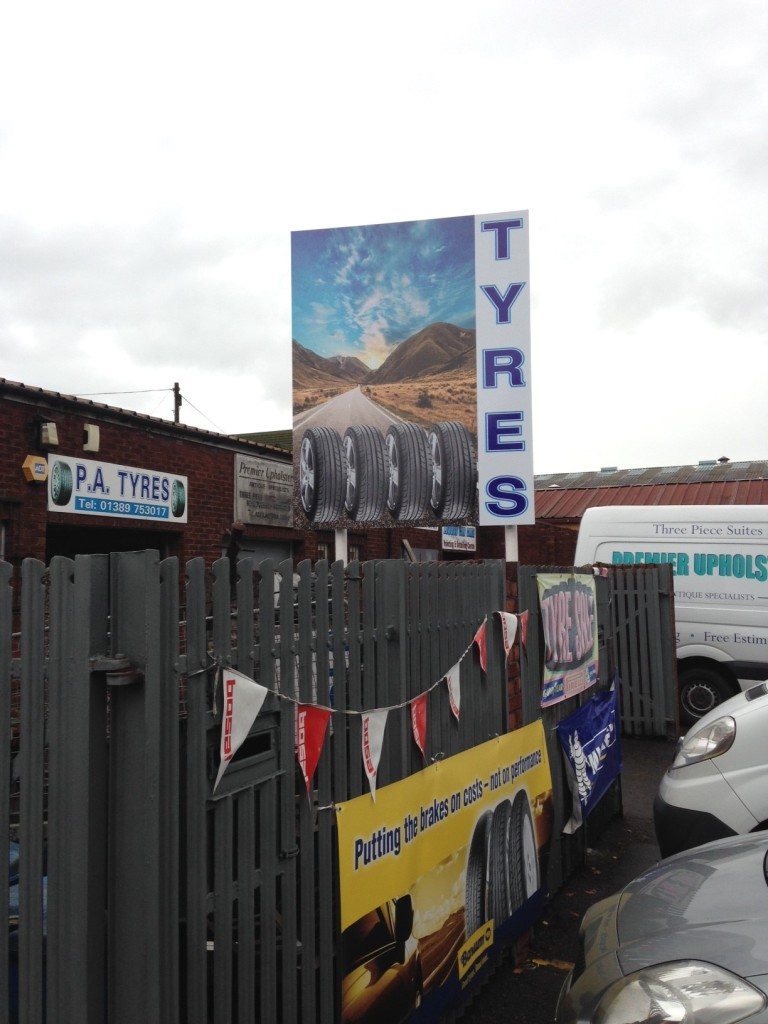 New exterior signs manufactured for P.A. Tyres & Exhausts - Lomond Branding
