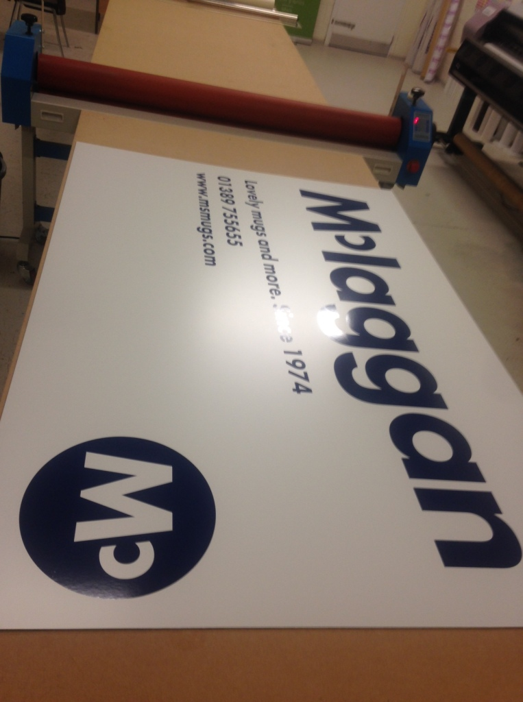 Exterior building sign manufactured for McLaggan Mugs - Lomond Branding