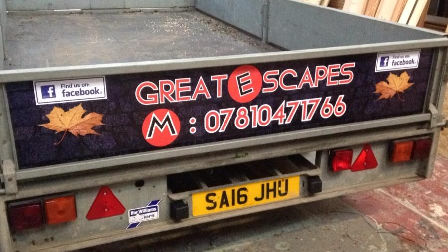 Trailer graphics for Great E Scapes - Alexandria - Lomond Branding