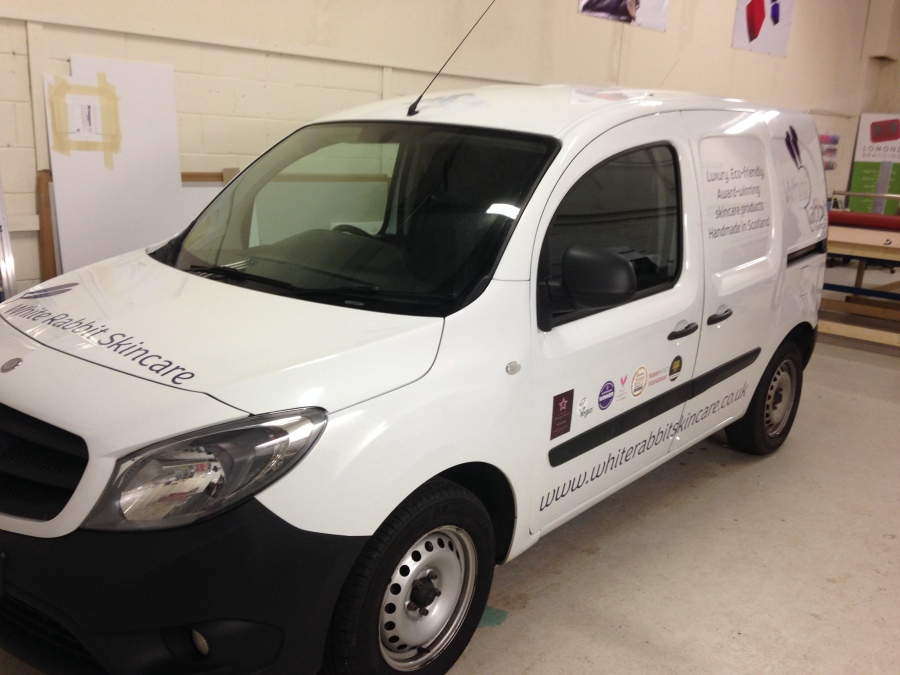Van vehicle graphics - White Rabbit Skincare - Lomond Branding