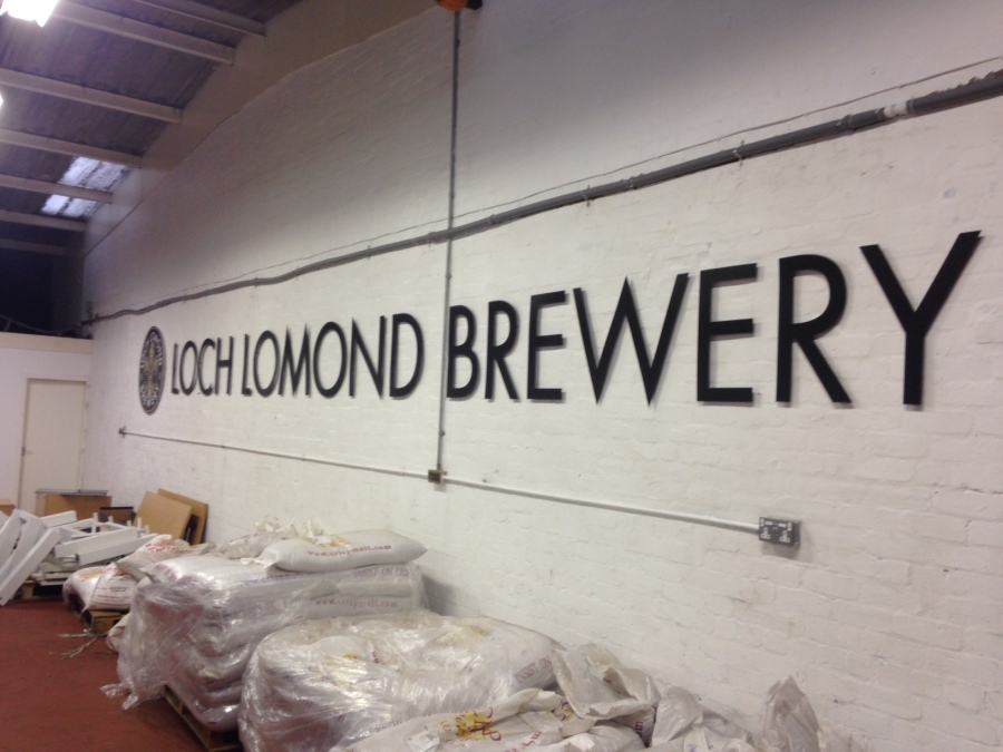 Wall Graphics - Loch Lomond Brewery 10m sign on stand-off locators - Lomond Branding