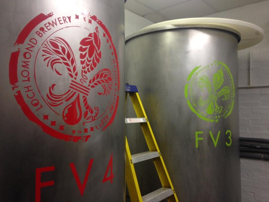 Loch Lomond brewery Fermenting Vessels - Graphics applied - Lomond Branding