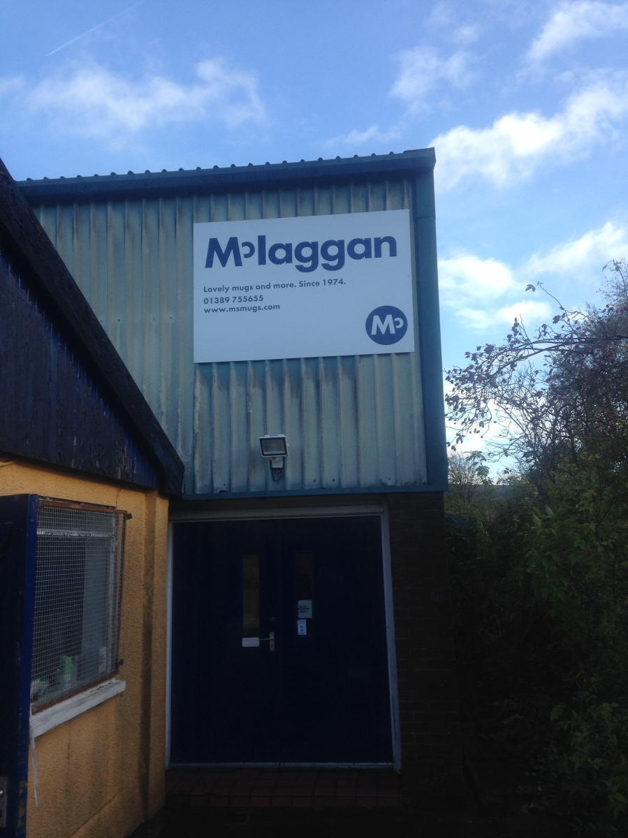 Mclaggan Mugs Pottery Building Sign, New exterior building sign for McLaggan Muggs and Pottery - Lomond Branding