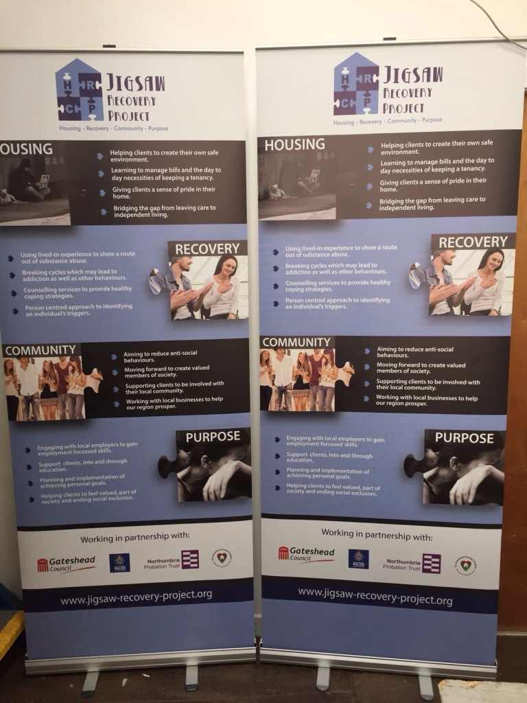 Roller banners for Jigsaw Recovery Project - Lomond Branding